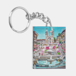 Piazza di Spagna -Keychain Double-Sided Square Acrylic Key Ring