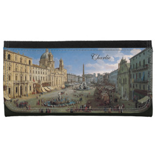 Piazza Navona, Rome art custom monogram wallets
