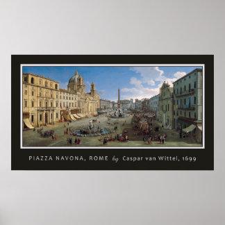 Piazza Navona, Rome art poster