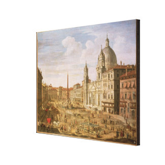 Piazza Navona, Rome, looking South towards Palazzo Canvas Print