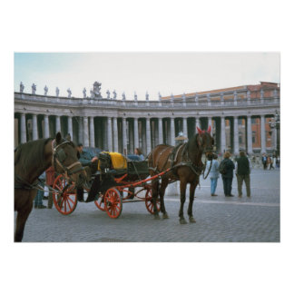 Piazza San Pietro, colonnades and carriages Print