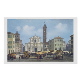 Piazza Santo Stefano from 'Views of Milan and its Poster