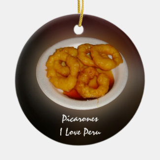 Picarones - Why I Love Peru! Round Ceramic Decoration