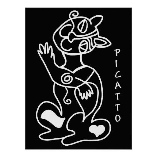Picatto white on black print
