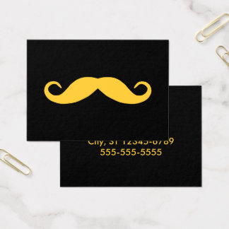 Pick A Color Mustache on Black Business Card
