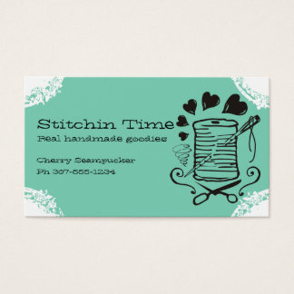 Pick color doodle needle thread sewing seamstress business card