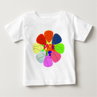 """Pick It"" Guitar Picks with Noses Baby T-Shirt"