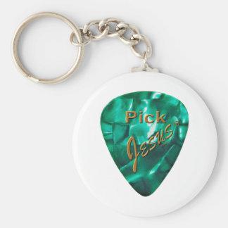 Pick Jesus Basic Round Button Key Ring