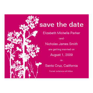 PICK-YOUR-COLOR Japanese Floral Save the Date Postcard