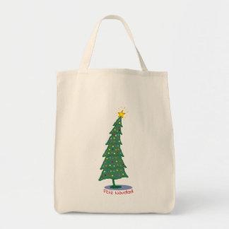 Pick your greeting Christmas Tree Tote Bag