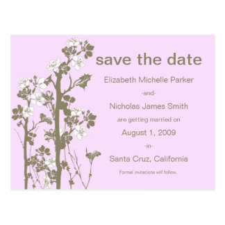 PICK-YOUR-OWN-COLOR Japanese Floral Save the Date Postcard