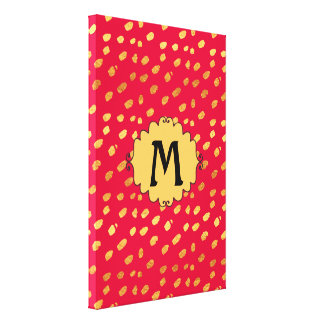Pick Your Size!  Red and Gold Confetti Monogram Canvas Print