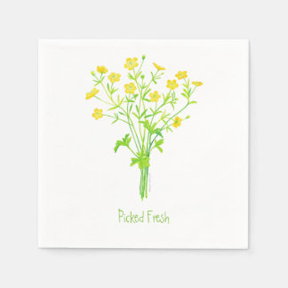 Picked Fresh Napkins - Buttercups Wildflower Disposable Serviette