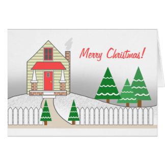 Picket Fence Snow Scene Christmas Card