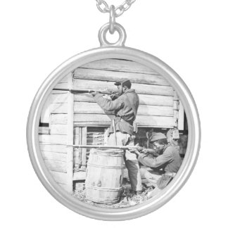 Picket Station of Colored Troops Dutch Gap Canal Silver Plated Necklace