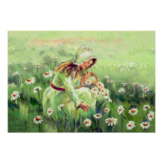 PICKING DAISIES by SHARON SHARPE Poster