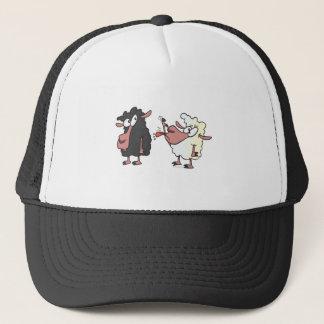 picking on the black sheep cartoon trucker hat