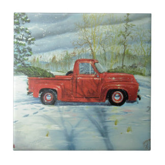 Picking up the Tree for Christmas Ceramic Tile