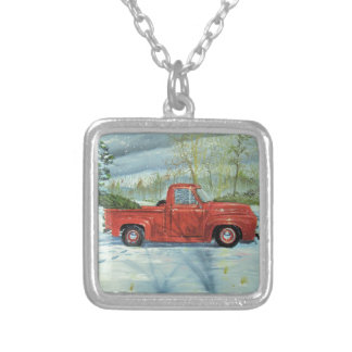 Picking up the Tree for Christmas Silver Plated Necklace