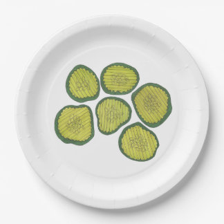 Pickle Chips Green Kosher Dill Pickle Chip Design Paper Plate