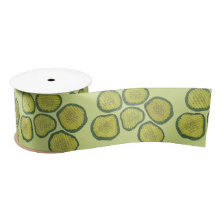 Pickle Chips Green Kosher Dill Pickle Chip Pattern Satin Ribbon