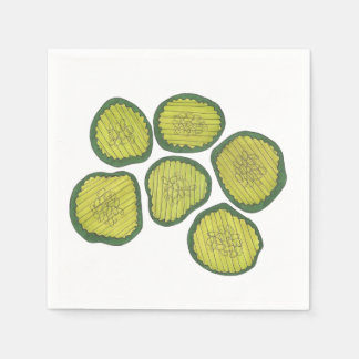 Pickle Chips Sweet Pickles Food Kosher Dill Print Paper Napkins