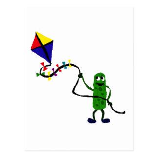 Pickle Man Flying Kite Postcard