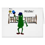Pickle Playing Pickleball Primitive Art Greeting Card
