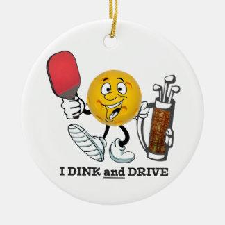 PIckleball/golf: Dink & Drive Round Ceramic Decoration