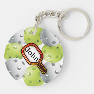 Pickleball Keychain/front/back - with name Key Ring