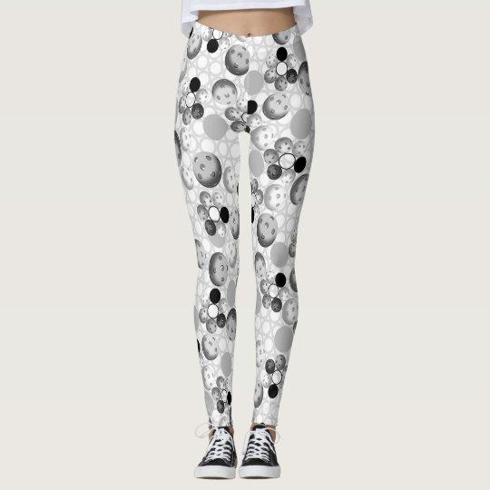 Pickleball Pattern, Black, White and Grey Leggings