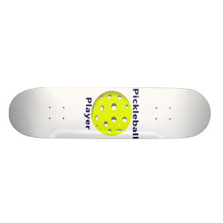 Pickleball Player Blue Text Yellow Ball Design Skate Decks