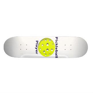 Pickleball Player Blue Text Yellow Ball Design Skate Decks