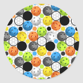 Pickleball print with Polka Dots Classic Round Sticker