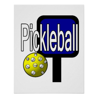Pickleball, with ball and paddle design picture poster