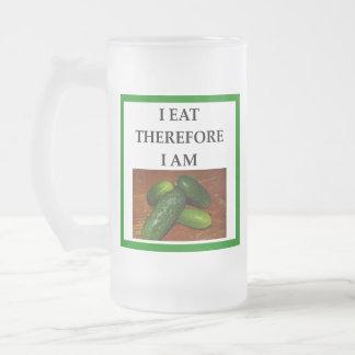 pickles frosted glass beer mug