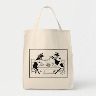 Picnic Cows Grocery Tote White