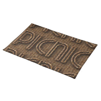 Picnic Funny Wicker Style Typography Brown Place Mat