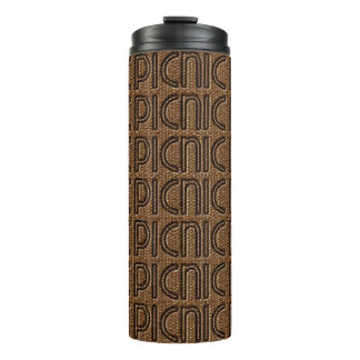 Picnic Funny Wicker Typography Brown Tumbler Thermal Tumbler