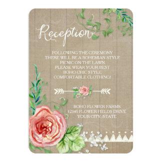 Picnic Reception BOHO Babys Breath Rose Barn Wood Card