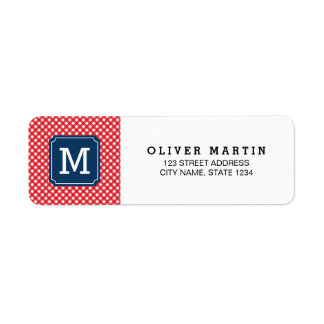 Picnic Red Gingham Monogram Address Label