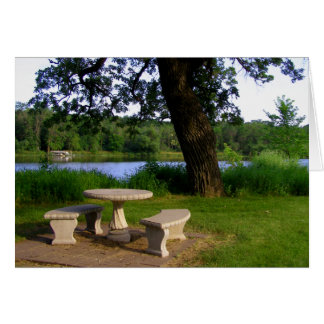 Picnic table under a shade tree near the river card