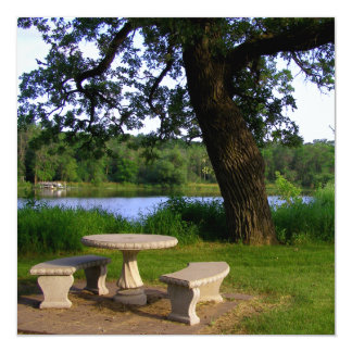 "Picnic table under an old tree near the river mn 5.25"" square invitation card"