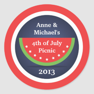 Picnic Watermelon 4th of July Party Stickers