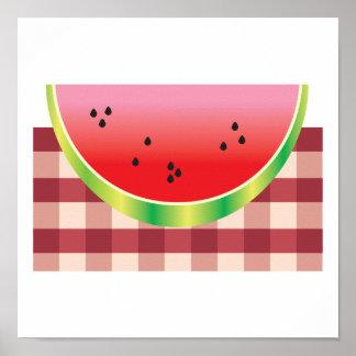 picnic watermelon vector graphic poster