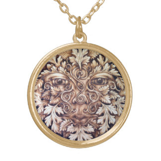 Pictish Greenman Pendant - Medium Gold-Tone