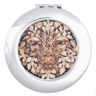 Pictish Spirals Greenman Mirrored Compact Vanity Mirror