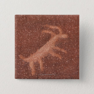 Pictograph of antelope on red sandstone wall, 15 cm square badge
