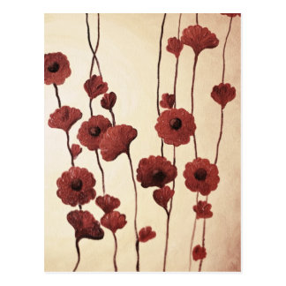 Pictural Red Flowers Postcard