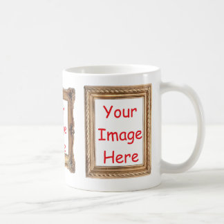 Picture framed images - add 3 photos to customize coffee mug